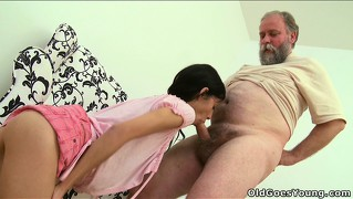 Tonia gets eaten by a horny grandpa then sucks him off and gets banged