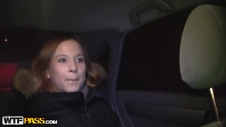 Handsome redhead fucked in a car