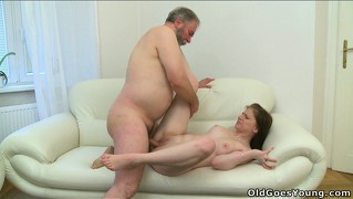 The old guy fucks maria's tight snatch while she sucks a young stud's dick