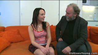Adorable brunette sveta has an older guy licking her nipples and cunt on the couch