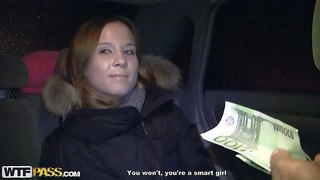 Mancy is a pretty youthful girl next door in the backseat of a car. this girl with charming smile gets paid to show her tits. and she shows it for money right in front of the camera!
