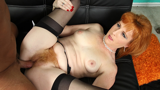 Redhead mother's fur covered carpet feels so good to touch & taste