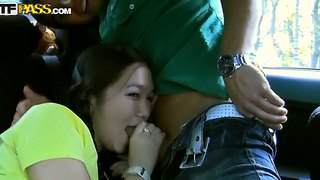 Asian college woman heidi wants starts sucking in the car before the hot party