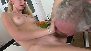 Slim blonde with tiny tits and sexy legs rosy enjoys her time with an older guy