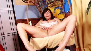 Big boobed brunette beverly paige naughtily playing her boobs and dildoing her cunt at home!