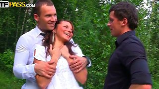Buzzed bride madelyn fucked hard be her bridegroom's best friends in the forest