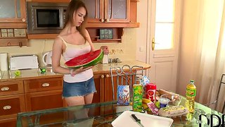 Beata undine plays with food and her figure