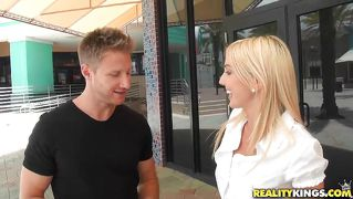 Cool blonde hunted down by horny guy!