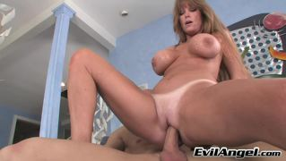 Luxurious red hair milf enjoying licking this huge hard cock