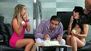 A super scorching backstage movie with aleska diamond and aletta ocean celebrating their friend's birthday