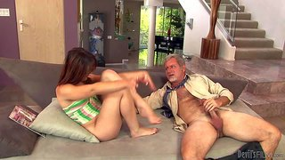 Izzi ryder is a pretty brunette with puny tits and sexy ass. petite girl gives blowjob to her older step-dad and then gets her neat pussy banged. watch her enjoy pussy drilling.