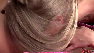 Blonde ladies ally and mia la roche lick each others pink