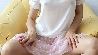 Teenage brunet ballerina is revealing her boobs and trimmed pussy from under pink panties
