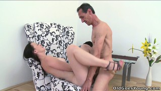 Thin brunette gets her tight little pussy fucked by an old man