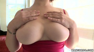 Chesty babe ava bailey plays with her tits and munches on cock