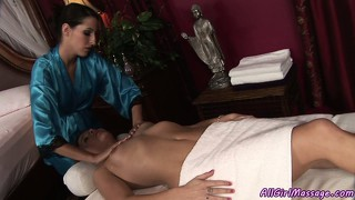 Insatiable masseuse gets her client horny and they eat pussy together