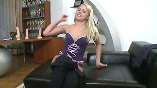 Superb blonde brandy smile tends rocco's axe