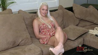 Blue-eyed blonde macy cartel in dress and footwear shows off her sexy legs during interview. she wears irresistible smile on her beautiful face. this young chick is a real seductress.