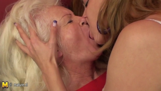Steamy babe visiting an older lesbian mom