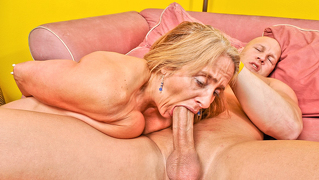Candy's old twat takes a beating from a younger mans cock