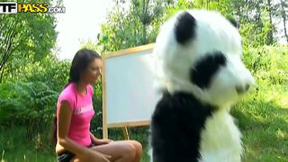 Groot panda is boor sexy babe molly in die asshole